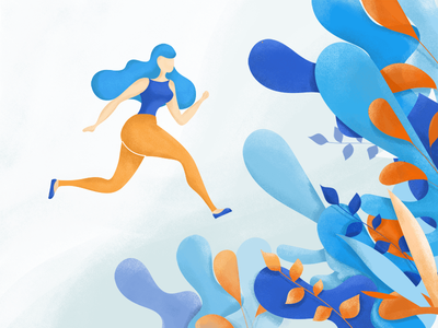 Running escape runner woman illustration spring garden girl editorial