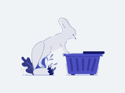 My cart is empty minimal fox fennec mobile app design mobile app illustration editorial