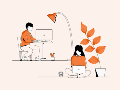 Students work space coworker coworking space boy illustration girl editorial