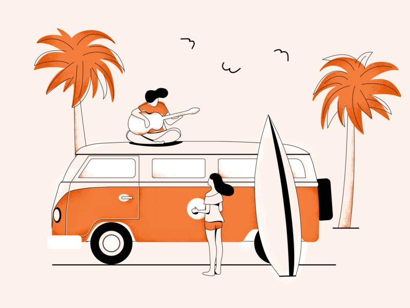 Summer beach monochrome summer illustration editorial