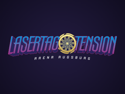 Lasertag Logo laser sports funsports yellow purple blue space logodesign logo augsburg tension lasertag