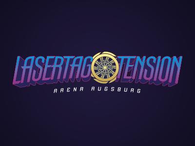 Lasertag Logo laser sports funsports yellow purple blue space logodesign logo augsburg tension lasertag