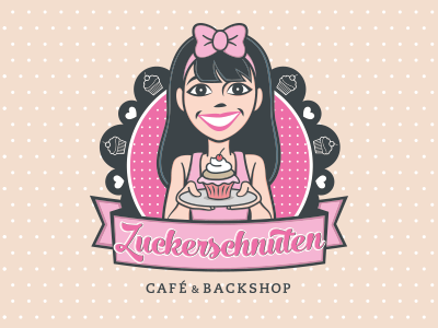 Zuckerschnuten cafe iam design girl illustration muffins cupcakes bakery logo zuckerschnuten