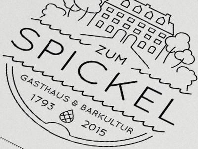 Zum Spickel Logo simple lines iam design drinks bar restaurant house trees type logo zum spickel