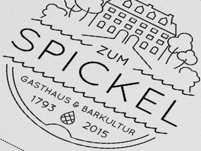 Zum Spickel Logo simple lines iam design drinks bar restaurant house trees type logo zum spickel