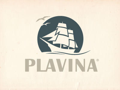 Plavina Logo iam iam design logodesign logo boat ship wave wine blue plavina