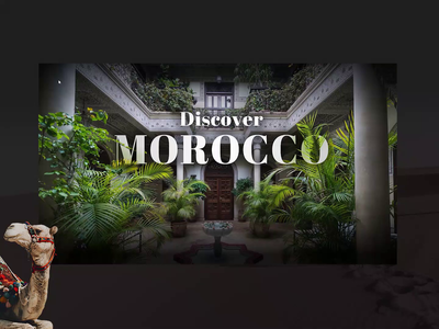 Discover Morocco travel dark ui red black modern elegant discover country visit explore arabic animation camel morocco african dark design clean ux ui