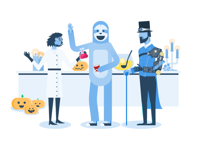 Halloween Party🎉 team pumpkin people party illustration halloween steampunk sloth scientist fun costume character