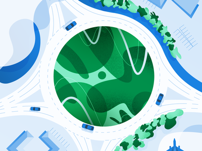 State of the Marketer-Developer Relationship in 2019 twilio illustrator procreate pattern tree traffic circle roundabout road aerial view aerial airplane developer marketer state sendgrid guide