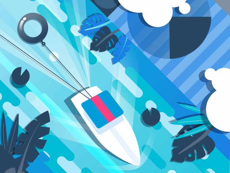 MultiChannel Guide Cover river channel tubing boat design aerial illustration sendgrid