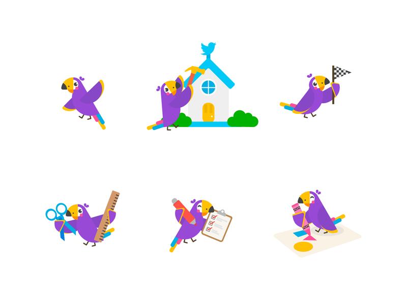 Hatchful onboarding illustration bird mascot cute design illustration flat
