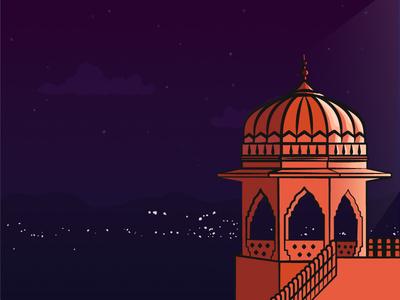 Jal Mahal india history heritage palace monument night scene jal mahal window architecture rajasthan illustration landmark