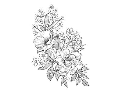 Botanicals floral flowers tattoo lines linework leaves babys breath forgetmenot gardenia peony procreate hand drawn blossom botanical ipadpro illustration