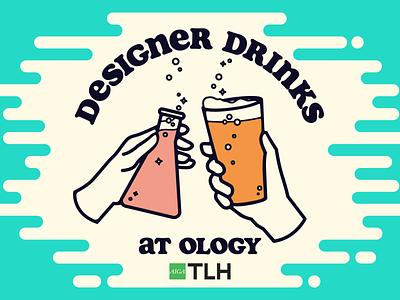 Designer Drinks fermentation sciene flask bubbles illustraion summer retro hands cheers beer