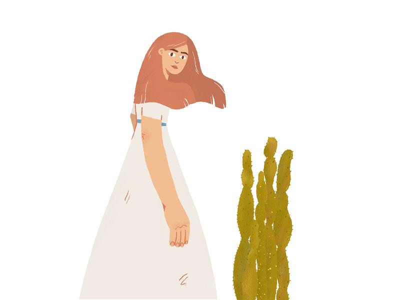 S H E ' S  A  R A I N B O W cactus girl illustration girl character