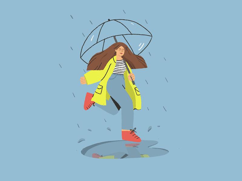 Rainy Day puddle coat yellow umbrella girl rain