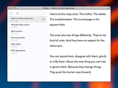 Notes Mockup (OS X) notes os x mavericks