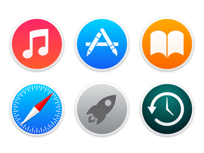 Yosemite Circle Icons yosemite mac os x 10.10 icons itunes app store ibooks safari launchpad time machine