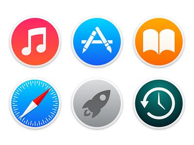 Yosemite Circle Icons yosemite mac os x 10.10 icons itunes app store ibooks safari launchpad time machine