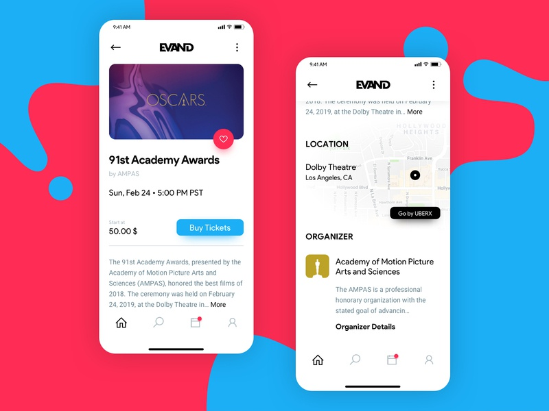 Hello dribbble! design debut screen menu navigation ui deisgn invitation app maps location event page uber like button academy awards oscar ticket event mobile hello dribbble first shots