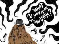 Illustration inspired by Addams Family show - Cousin Itt