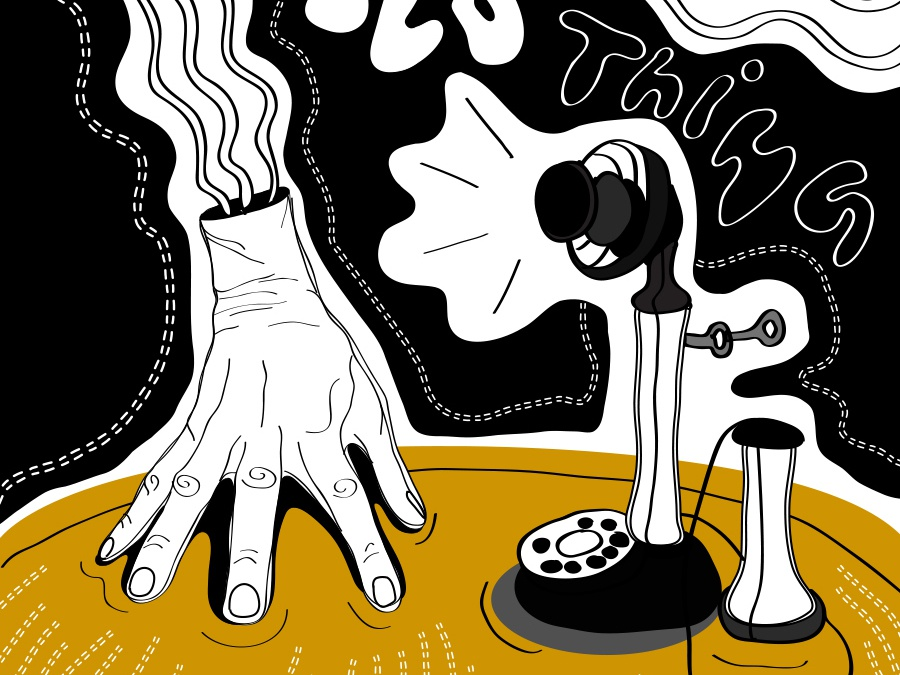 Illustration inspired by Addams Family show - The thing wacom graphicdesign design drawing akareddie linestyle oldstyle yellow black fanart lines vector illustration art illustrative illustration addamsfamily thething
