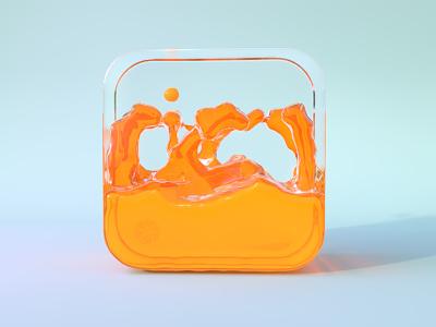 Orange Juice c4d liquid water dribbble orange 3d 3dicon icon