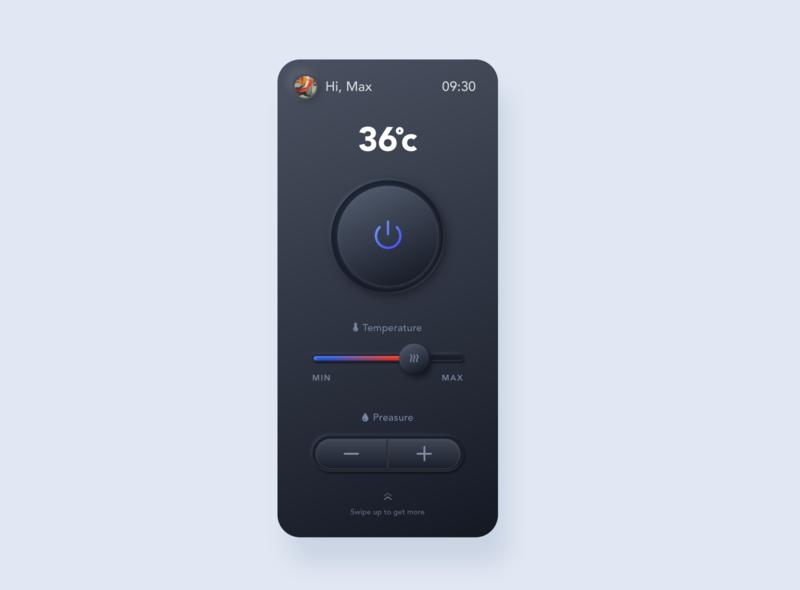 Skeuomorphic Smart Shower Control UI