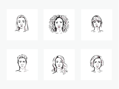 Line Art Face Illustrations 1/2 diverse people diverse faces diversity headshot heads people graphic design line drawing portrait faces drawing ipad procreate line art lines illustration