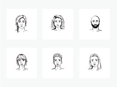 Line Art Face Illustrations 2/2 portrait people procreate line drawing line art ipad illustration headshot graphic design faces drawing diversity diverse people diverse faces