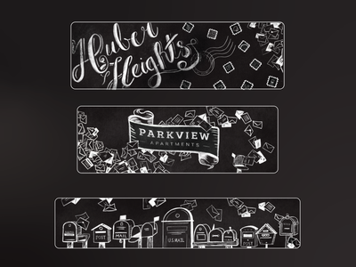 Chalkboard Style Mailroom Wall Graphics illustraion large format handlettering drawing script stamps mailboxes post post office envelopes mailroom mail interior graphics interior wall graphics chalkboard chalk
