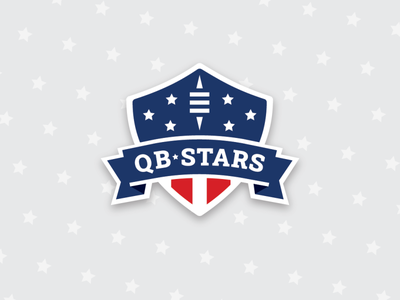QBstars Logo red white blue american flag stripes stars quaterback football american football patriotic american branding design logo graphic design branding