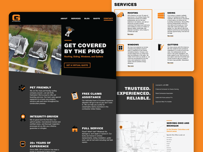 GPro Exteriors Website sketch siding roofing orange and black home exteriors webpage home page web page ui ux graphic design web design website