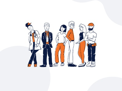 People Illustration people illustration illustrated procreate line work outline orange drawings illustrated people occupations jobs people pop of color hand drawn illustration