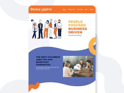 People Groove Recruiting & Staffing Website site jobsite colorful bright shapes funky groove people jobs staffing recruiter recruiting web design website design website webdesign