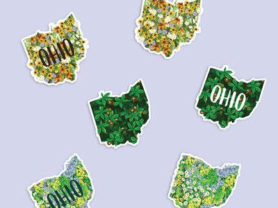 Ohio Shaped Stickers wildflowers flowers buckeye buckeyes ohio state state states shape of ohio sticker design sticker floral ohio stickers