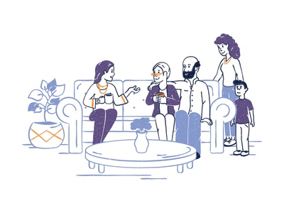Family illustration meeting talking discussion healthcare health hospital care old person elderly ages nursing home hospice home care parents kids elderly care seniors senior citizens family illustration