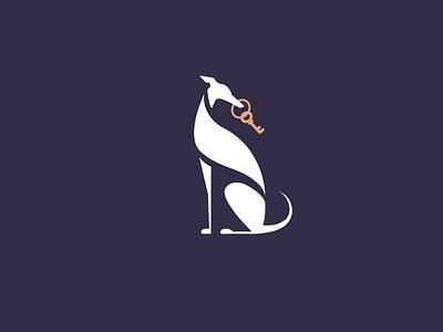 Elegant Greyhound with Key Logo real estate realty realtor logo key dog with key whippet greyhound dog brand branding logo