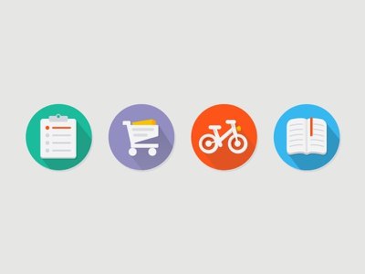 flat icons icon flat bike book shopping cart clipboard long shadow