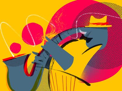 International Jazz Day elephant sax illustration jazz