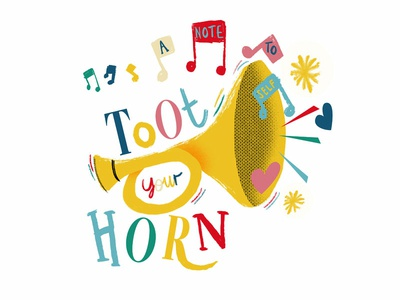 A Note To Self illustration horn trumpet