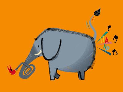 Harp illustration fart harp elephant