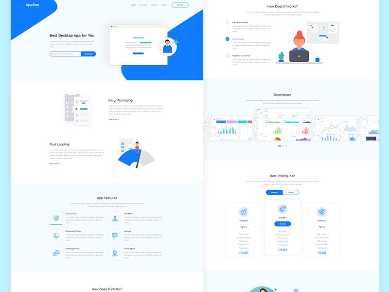 App Landing Page (Freebie) homepage design web page minimal visual design illustration clean app landing page landing page ux ui psd template