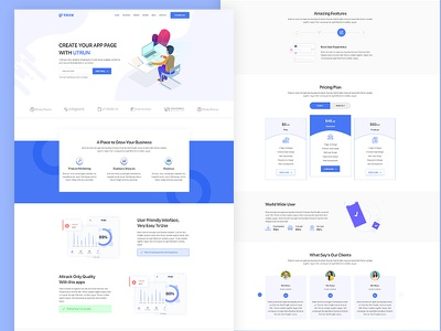 UTRUN - Software, App Landing page PSD Template software product startup product launch modern marketing landing page ios dark creative clean bootstrap blue app store app showcase app