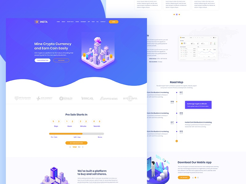 Insta - Cryptocurrency landing Page illustration iico agency ico landing ico cryptocurrency crypto consulting business blockchain bitcoin landing bitcoin