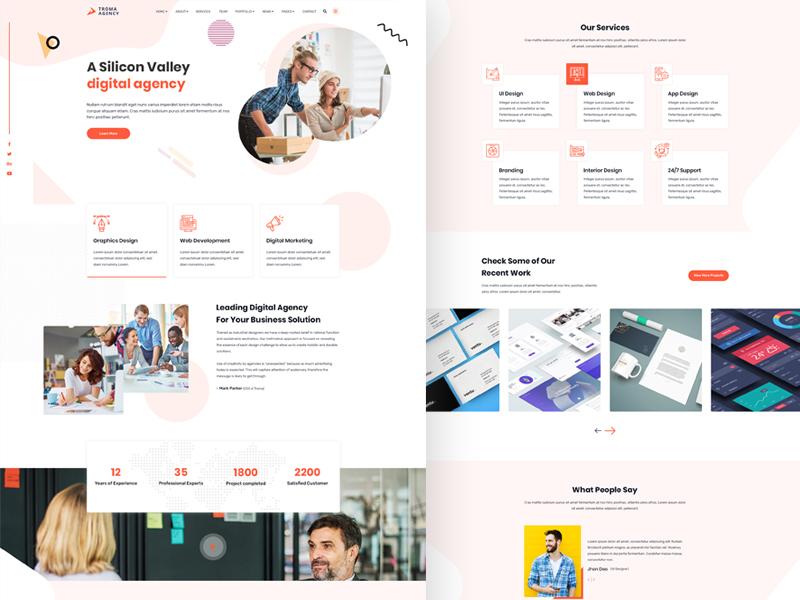 TROMA - Creative Agency Website psd portfolio multipurpose modern illustration digital agency creative corporate portfolio company clean business portfolio business agency psd