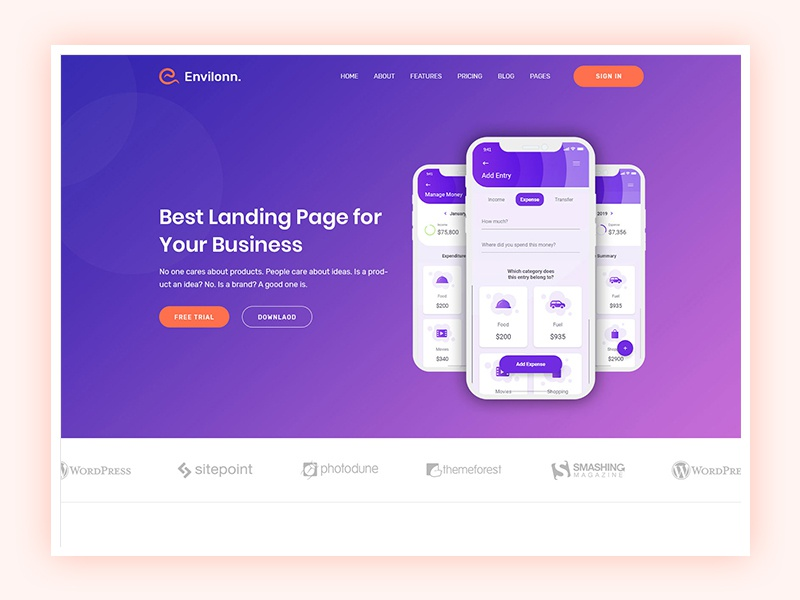 App Landing Page technology startup software seo saas product portfolio marketing landing page html5 creative business bootstrap app agency