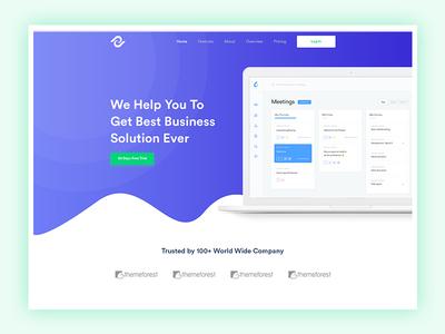 Saas Landing Page Design vector clean ui software saas startup modern app landing page agency illustration business landing page creative