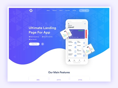 App Landing Page Design software ui app landing page modern startup design creative clean ui saas landing page app