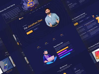 Personal Portfolio Website - Dark Version startup design business travel resume portfolio photography parallax one page modern minimal freelancer elementor developer designer creative clean blog